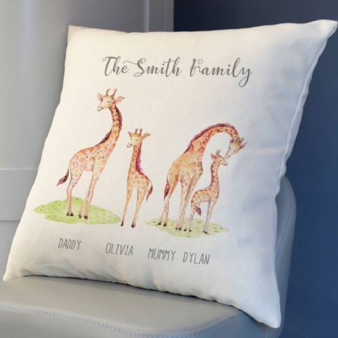 Personalised Giraffe Family Cushion